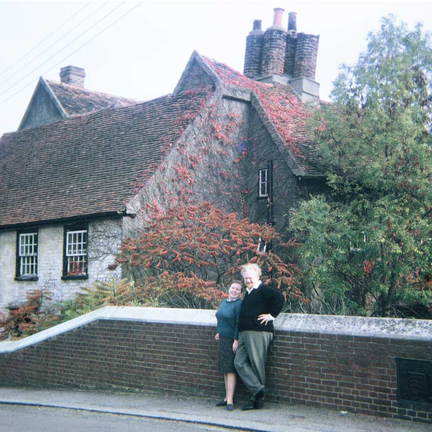 Len and Pat outside the Rood House