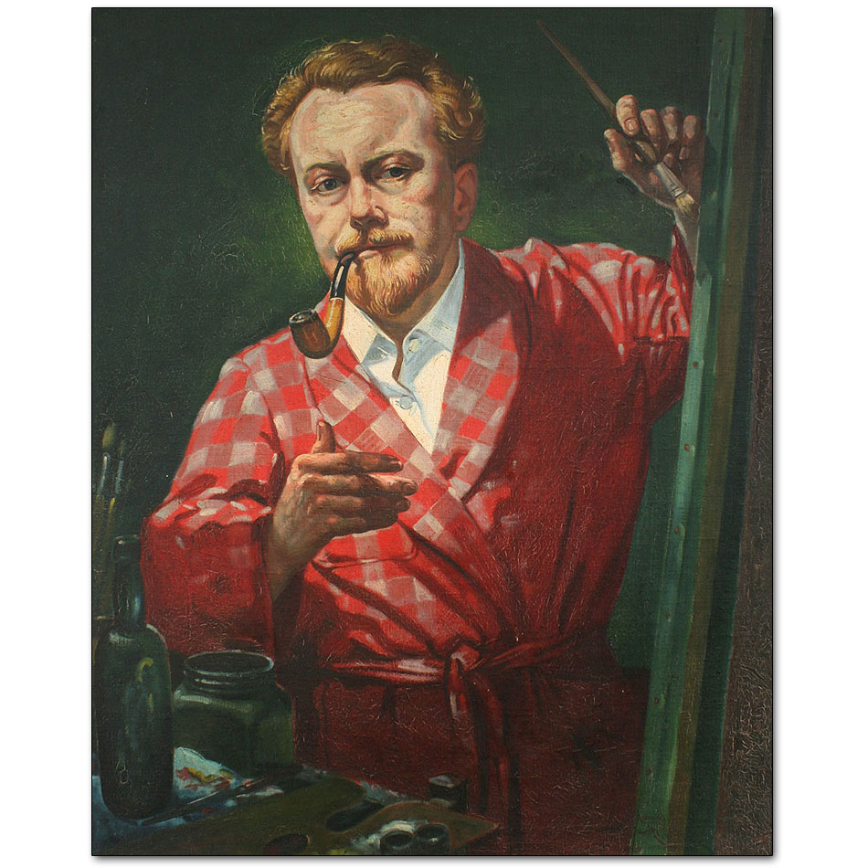 Self Portrait in Red Dressing Gown