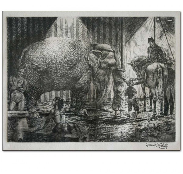French Circus with Elephant, Horse & Performers