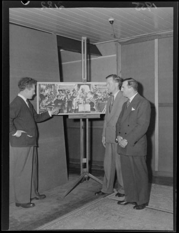 Photograph of Len presenting his design to Mr D M Wylie, and Mr Ronald Muston