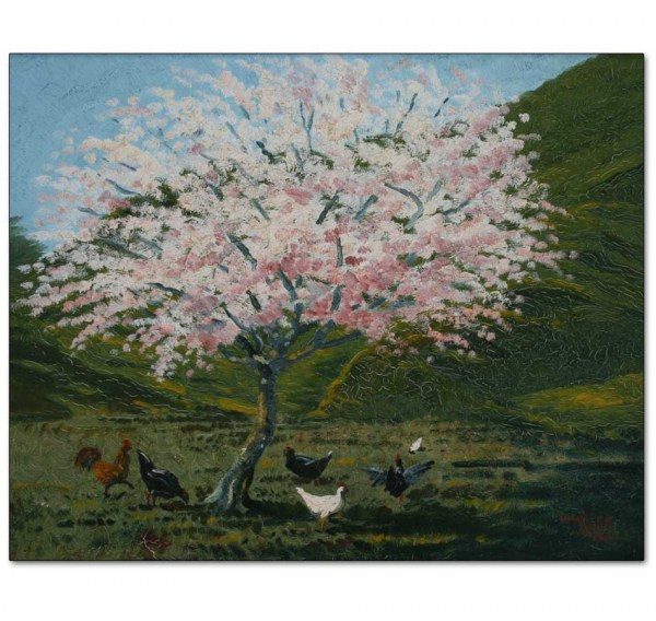 Blossom Tree with Chickens