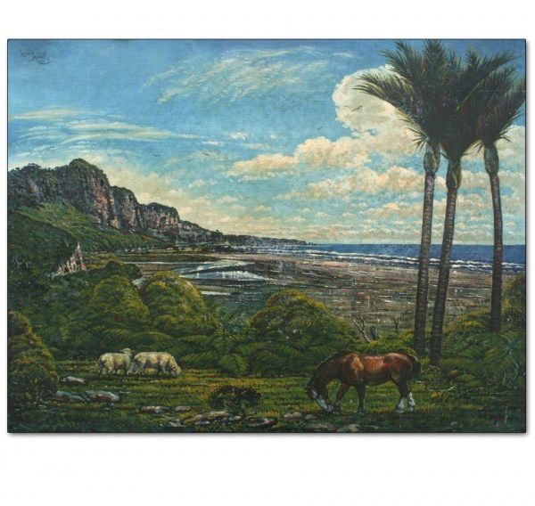 North Island Coastal Landscape with Nikaus and Horse