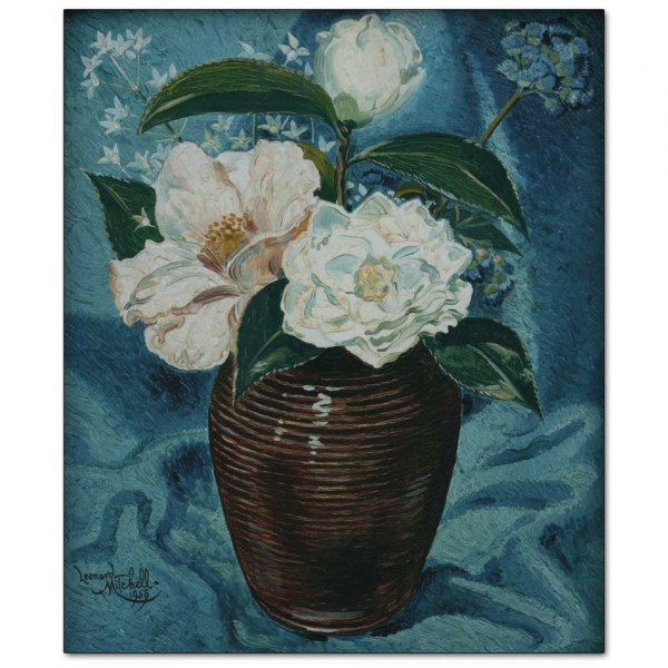 Camelias in Glazed Vase