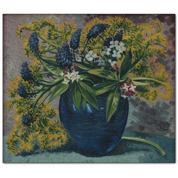 Grape Hyacinths and Daphne in Blue Vase