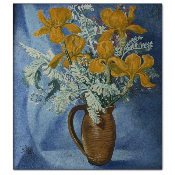 Yellow Irises in Brown Jug