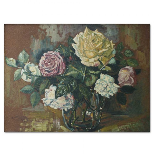 Roses in a Glass Jug on Brown Background