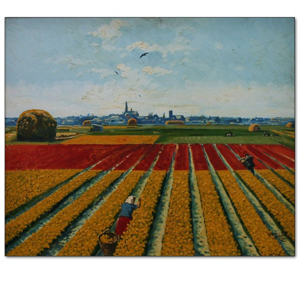 A Distant View of Amsterdam from the Bulb Fields