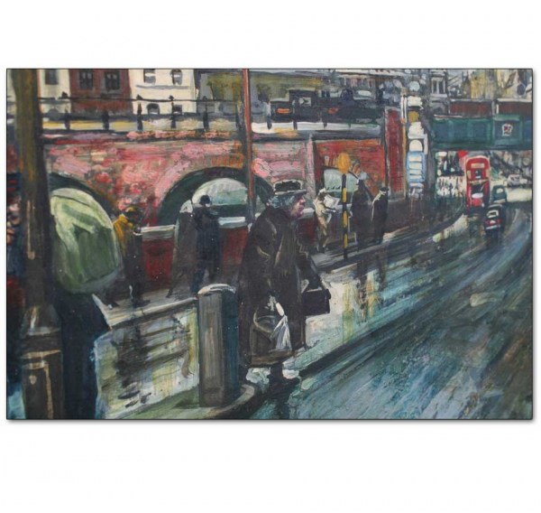 Detail - Rainy Street Scene with London Buses