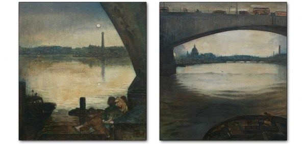 Left: Night, Art Students, Waterloo Bridge / Right: Dawn, St Pauls from Waterloo Bridge