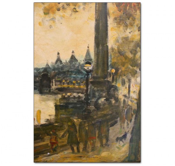Detail - Embankment and Distant Westminster, Autumn