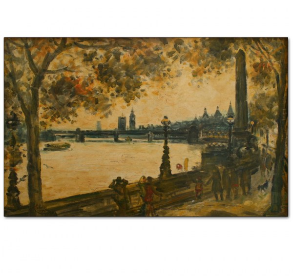 Embankment and Distant Westminster, Autumn