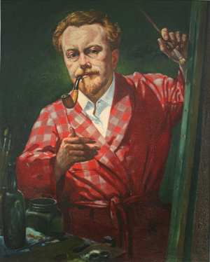 Self Portrait in Red Dressing Gown, 1969