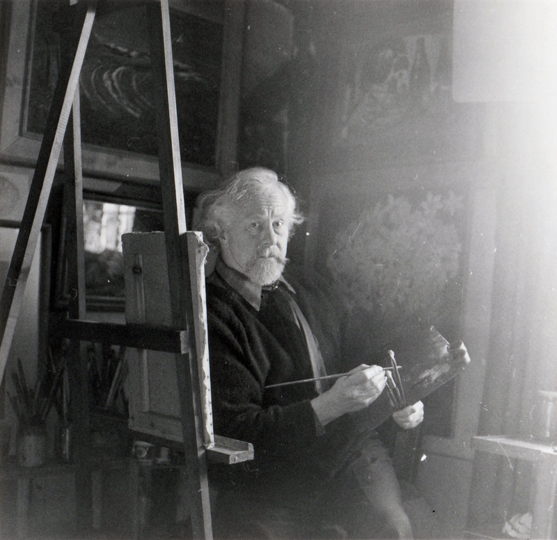 Len at his easel, Rood House c1979