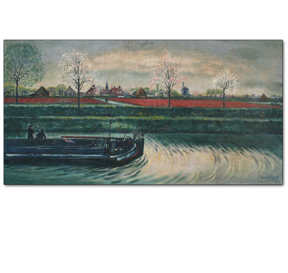 Dutch Canal and Barge, Spring