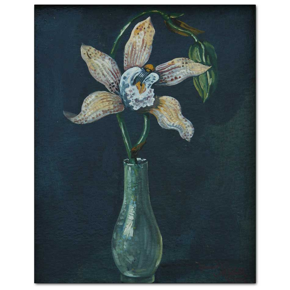 Single Orchid in Glass Vase