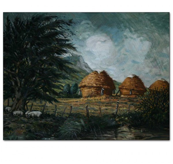 Three Round Haystacks