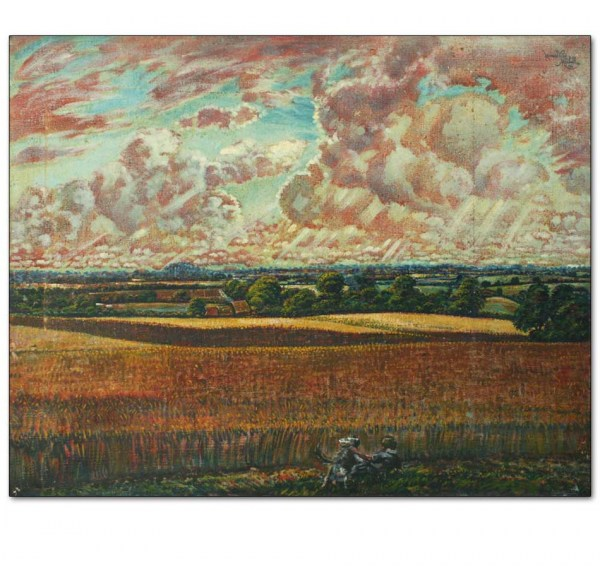 Cornfields with Man and Dog in Suffolk